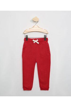 BABY CLUB Calça de Moletom Infantil com Recorte Vermelha