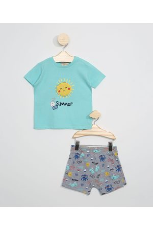 BABY CLUB Conjunto Infantil de Camiseta Sol Manga Curta Verde Água + Short de Fundo do Mar Cinza Mescla Escuro