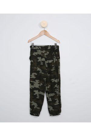 Palomino Calça Infantil Jogger Estampada Camuflada Verde Militar