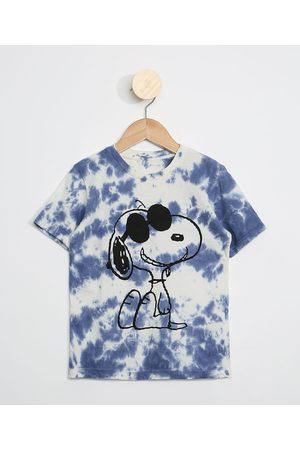 Snoopy Menino Manga Curta - Camiseta Infantil Estampada Tie Dye Manga Curta Azul