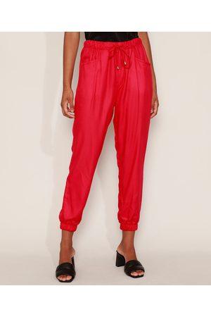 Yessica Calça Feminina Jogger Cintura Super Alta com Bolsos Vermelha