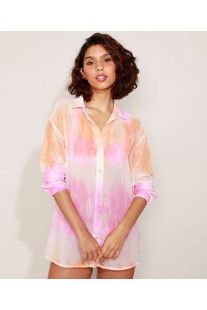 YESSICA Mulher Camisa Casual - Camisa Feminina Estampada Tie Dye Manga Longa Multicor