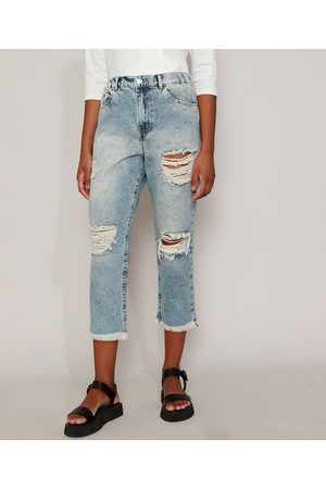 Clockhouse Calça Jeans Feminina Mom Cropped Cintura Super Alta Destroyed Marmorizada Médio