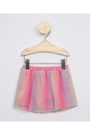 BABY CLUB Menina Saia Estampada - Saia de Tule Infantil Estampada Tie Dye Rosa