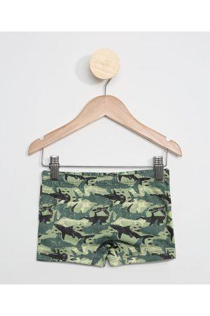 BABY CLUB Sunga Infantil Boxer Estampada Camuflada Tubarões com Proteção UV50+ Verde