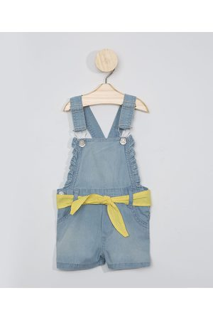 BABY CLUB Jardineira Jeans Infantil com Faixa Médio
