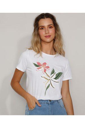 YESSICA Mulher Camiseta - Camiseta Feminina Flor Manga Curta Decote Redondo Off White