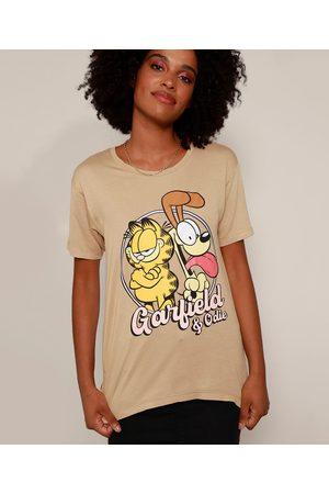 Garfield Mulher Camiseta - Camiseta Feminina e Odie Manga Curta Decote Redondo