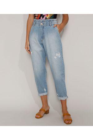 SAWARY Mulher Cintura Alta - Calça Jeans Feminina Baggy Cintura Super Alta com Rasgos Claro