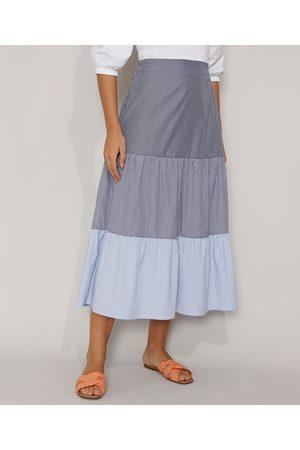 Clockhouse Mulher Saia Midi - Saia Feminina Midi Listrada com Recortes Azul