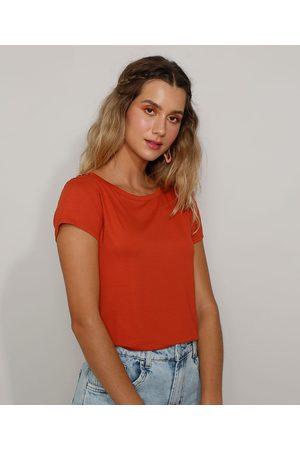 Basics Camiseta Feminina Básica com Botões Manga Curta Decote Redondo