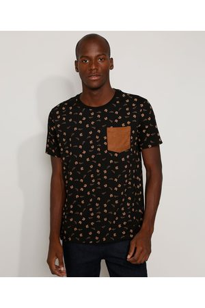 Clockhouse Camiseta Masculina Estampada Floral com Bolso em Suede Manga Curta Gola Careca Preta