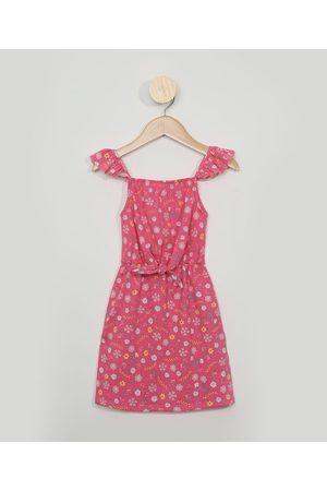PALOMINO Vestido Infantil Floral Alça Fina com Babado Decote Reto Rosa