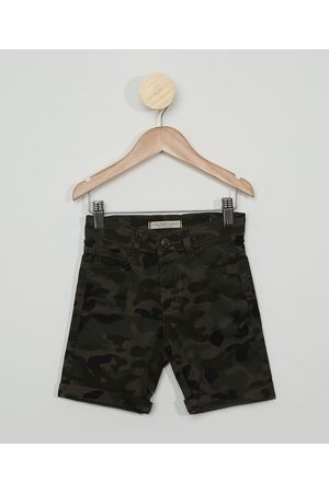PALOMINO Bermuda de Sarja Infantil Reta Estampada Camuflada Verde Militar