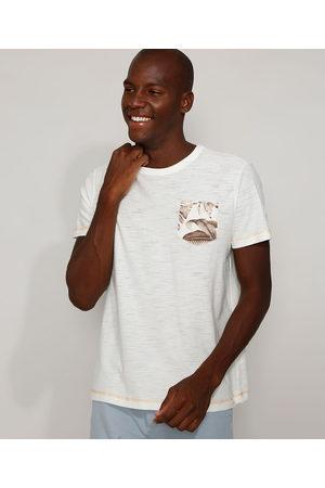 Angelo Lítrico Camiseta Masculina com Bolso Estampado de Folhagem Manga Curta Gola Careca Off White