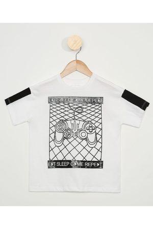 "PALOMINO Camiseta Infantil Eat Sleep Game Repeat"" Manga Curta Off White"""