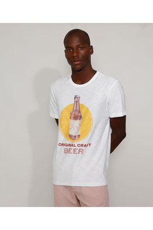 "ANGELO LITRICO Camiseta Masculina Original Craft Beer"" Manga Curta Gola Careca Off White"""