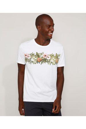 Clock House Camiseta Masculina Floral Tropical Manga Curta Gola Careca Branca