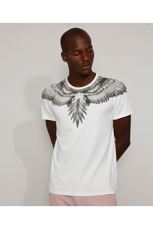 AL Contemporâneo Camiseta Masculina Slim Águia Manga Curta Gola Careca Branca