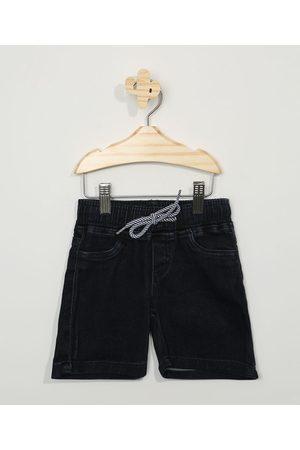 BABY CLUB Bermuda Jeans Infantil Reta com Cordão Escuro