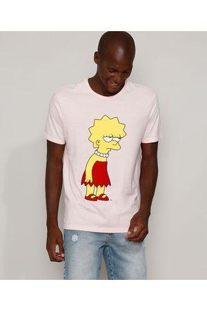 Os Simpsons Camiseta Masculina Lisa Simpson Flocada Manga Curta Gola Careca Claro