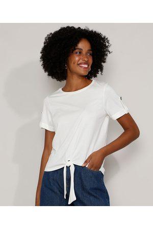 Yessica Camiseta Feminina com Nó e Martingale Manga Curta Decote Redondo Off White