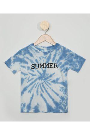 "PALOMINO Camiseta Infantil Estampada Tie Dye Summer"" Manga Curta Azul Claro"""