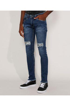 Clockhouse Calça Jeans Masculina Skinny com Rasgos e Barra Desfiada Escuro
