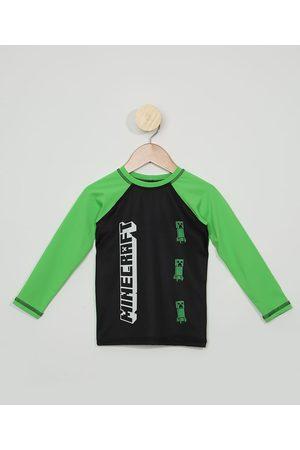 C&A Blusa de Praia Infantil Raglan Minecraft com Proteção UV50+
