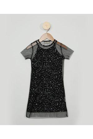 PALOMINO Vestido Infantil Estrelas com Sobreposição em Tule Manga Curta Preto