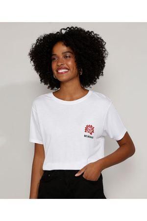 "Clockhouse Mulher Camiseta - Camiseta Feminina Be Brave"" com Tigre Manga Curta Decote Redondo Branca"""