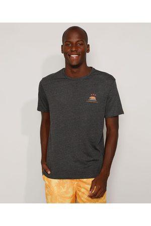 """Suncoast Camiseta Masculina California Republic"""" Manga Curta Gola Careca Mescla Escuro"""""""