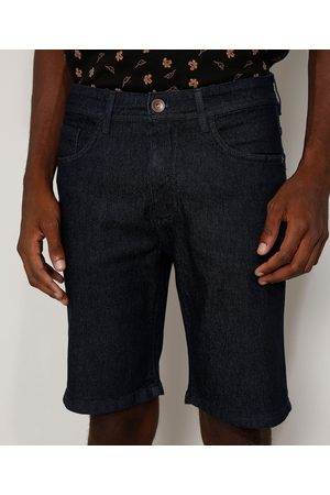 Clockhouse Homem Bermuda - Bermuda Jeans Masculina Slim Escuro