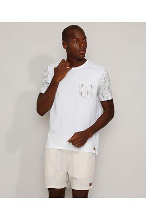 Suncoast Camiseta Masculina com Bolso e Manga Curta Estampados de Folhagem Gola Careca Off White