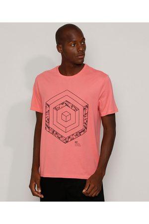Suncoast Camiseta Masculina Geométrica Manga Curta Gola Careca Coral