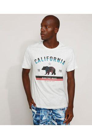 """Suncoast Camiseta Masculina California Ride the Wave"""" Manga Curta Gola Careca Mescla Claro"""""""