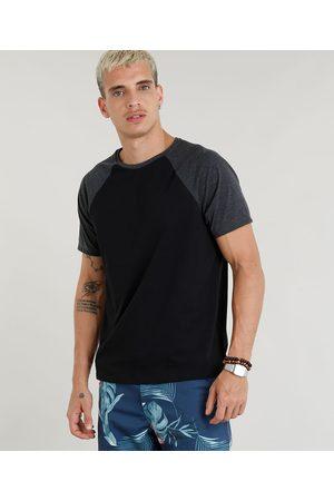 Basics Camiseta Masculina Básica Raglan Manga Curta Gola Careca Preta