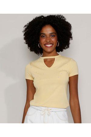 Basics Mulher Camiseta - Camiseta Feminina Básica Choker com Pérolas Manga Curta Amarela