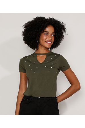 Basics Camiseta Feminina Básica Choker com Pérolas Manga Curta Militar