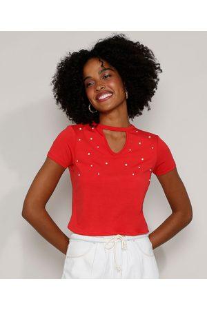 Basics Mulher Camiseta - Camiseta Feminina Básica Choker com Pérolas Manga Curta Vermelha