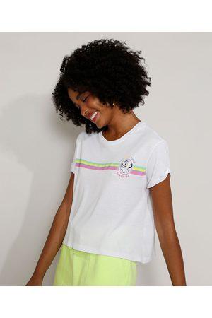 Disney Mulher Camiseta - Camiseta Feminina Ampla Simba O Rei Leão com Listras Manga Curta Decote Redondo Off White