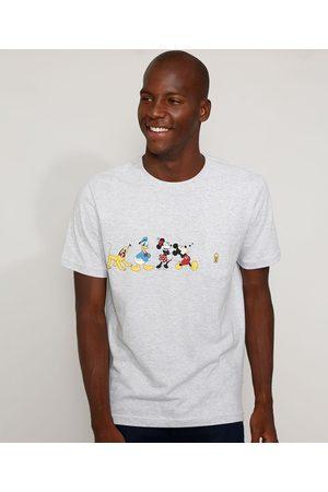 Disney Homem Manga Curta - Camiseta Masculina Turma do Mickey com Bolso Manga Curta Gola Careca Mescla Claro