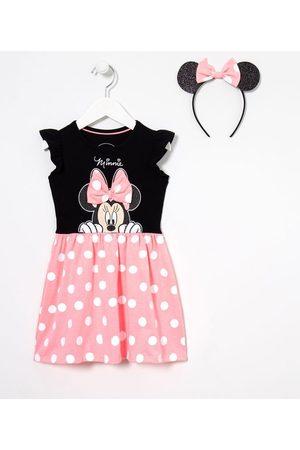 Minnie Vestido Infantil Minnie com Tiara Orelhinhas - Tam 1 a 6 anos | | Multicores | 5-6