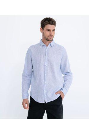 Marfinno Homem Camisa Manga Comprida - Camisa Manga Longa Linho com Textura | | | G