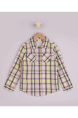 PALOMINO Camisa Infantil Estampada Xadrez com Bolso Manga Longa Amarela