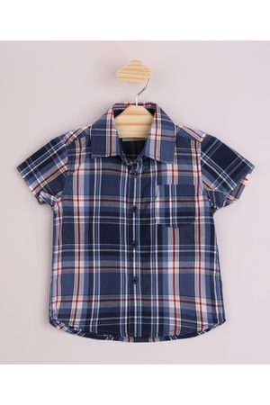 Baby Club Camisa Infantil Estampada Xadrez com Bolso Manga Curta Azul Marinho