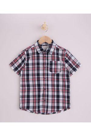Palomino Menino Camisa Manga Curta - Camisa Infantil Estampada Xadrez Manga Curta Vermelha