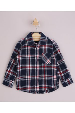 BABY CLUB Menino Camisa Manga Comprida - Camisa Infantil Estampada Xadrez com Bolso Manga Longa Azul Marinho