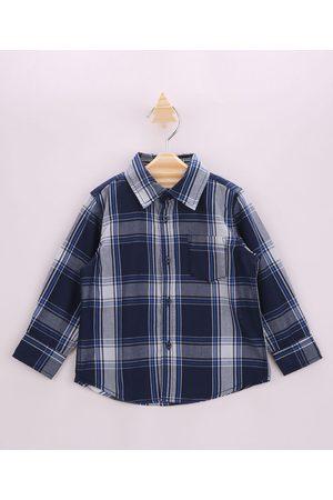 Baby Club Camisa Infantil Estampada Xadrez com Bolso Manga Longa Azul Claro
