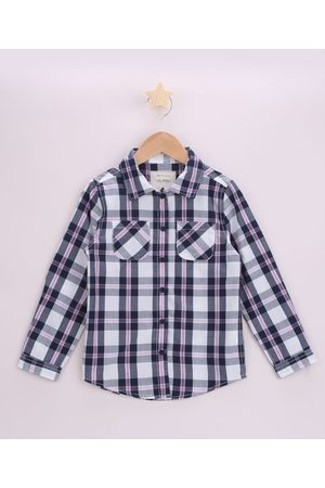 PALOMINO Camisa Infantil Estampada Xadrez com Bolso Manga Longa Preta